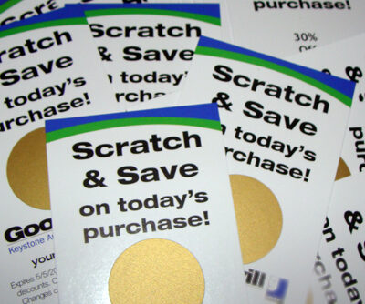 Scratch off stickers used to increase sales using scratch off cards -scratch off coupon