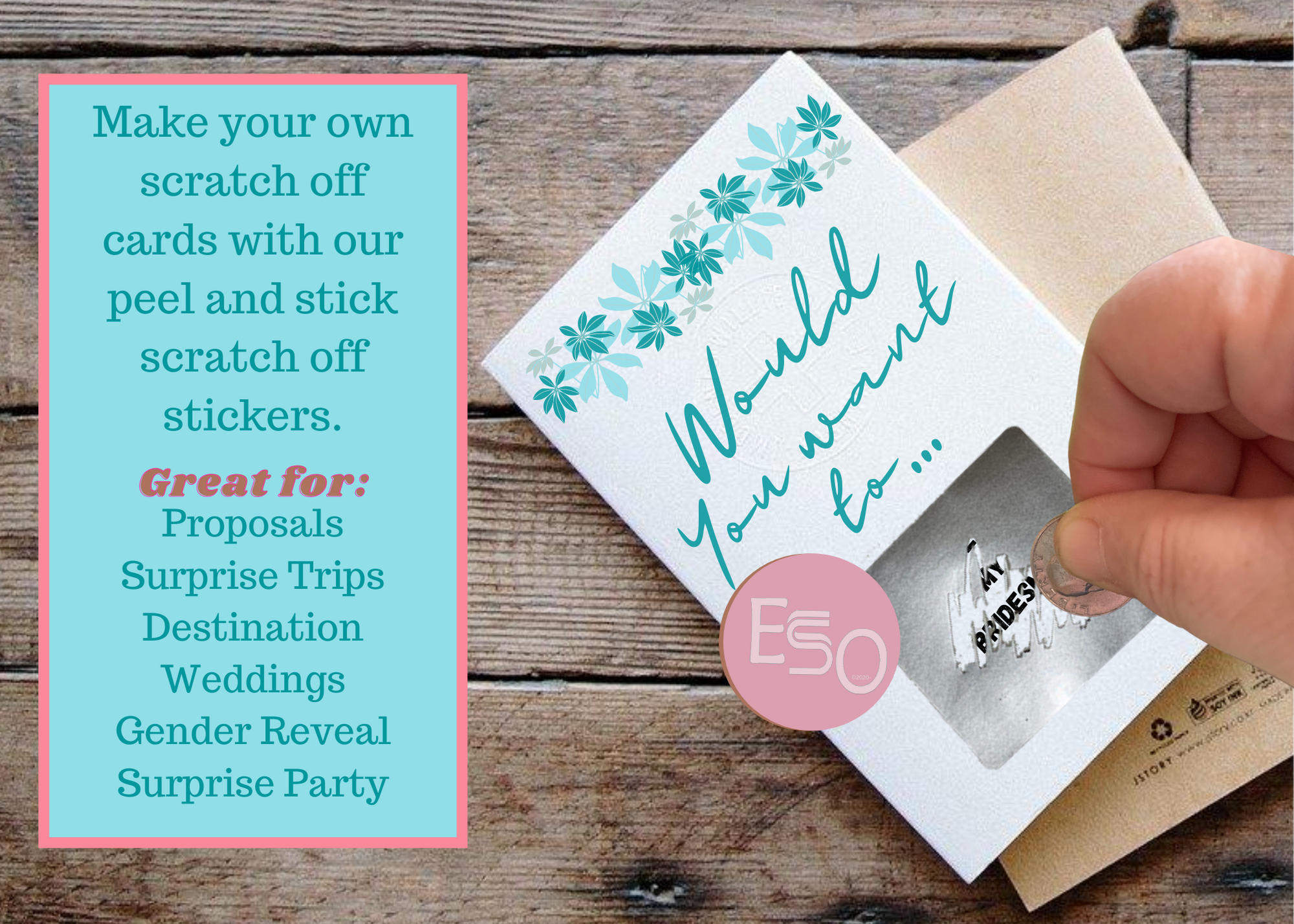 Bridesmaid scratch off card using jumbo scratch off stickers